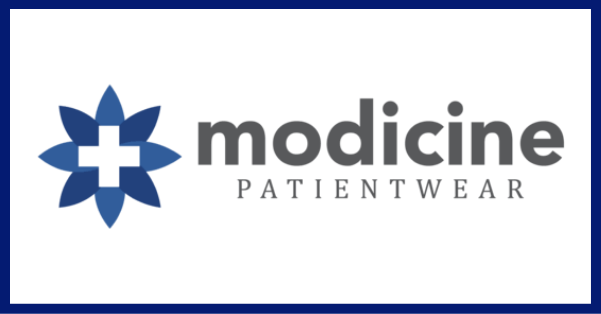 Modicine PatientWear logo with blue border
